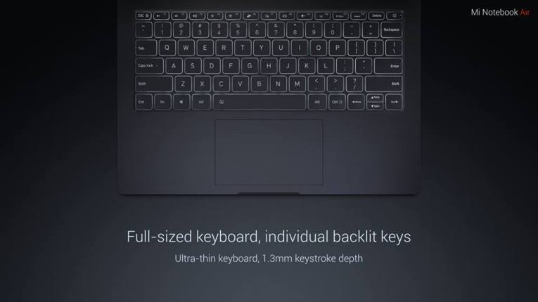Mi Notebook Air Backlit keyboard