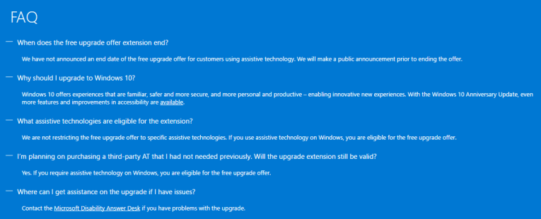 Windows 10 Free upgrade  FAQ's