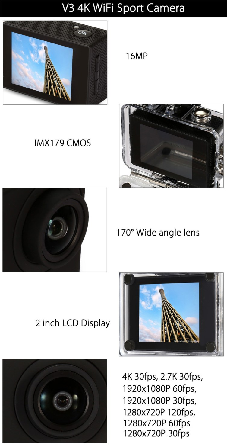 V3 4K WiFi Sport Camera Specifications