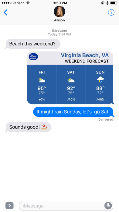 The Weather Channel for iMessage