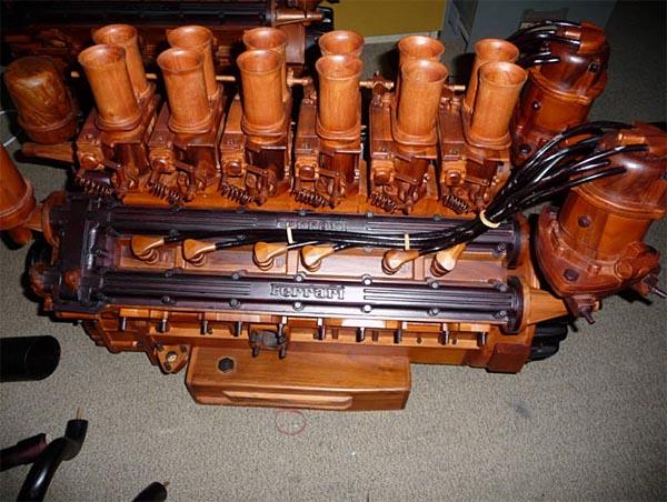 Available Life Size Ferrari V12 Wooden Engine Replica