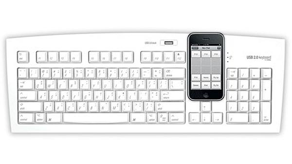 Computer Keyboard Integrated iPhone Stand and USB Hub