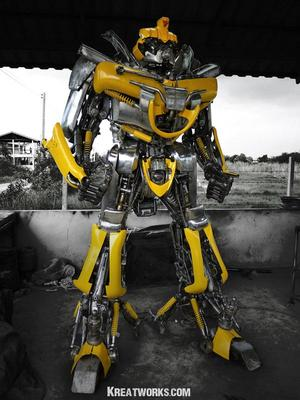 hanging chair metal best chairs glider and ottoman huge optimus prime bumblebee made of recycled | gadgetsin