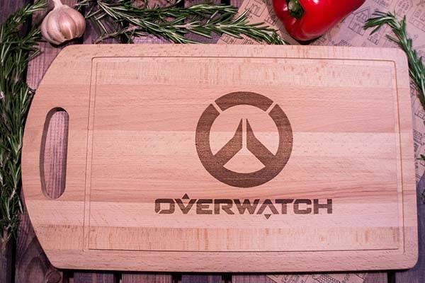 Handmade Overwatch Logo Wood Cutting Board  Gadgetsin