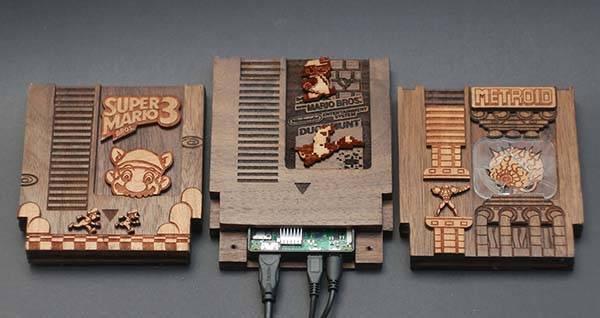 Handmade NES Game Cartridge Shaped Wooden Raspberry Pi
