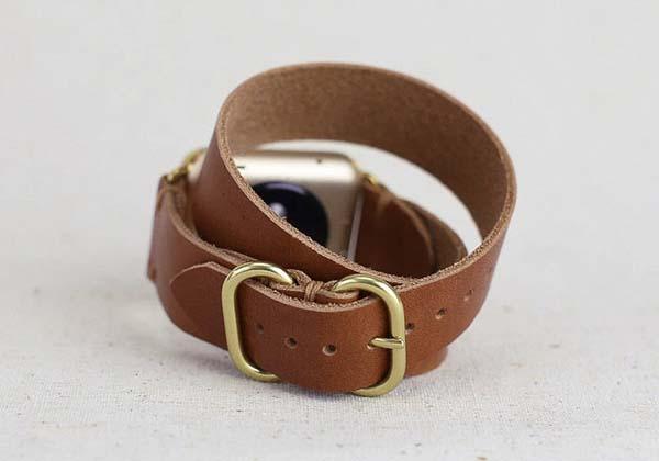 Handmade Double Wrap Apple Watch Leather Strap  Gadgetsin