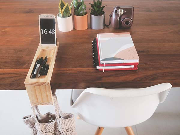 Handmade Wooden Desk Organizer with Under Table Handbag