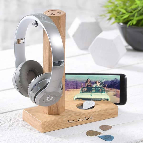 Handmade Personalized Wooden Headphone Stand with Phone