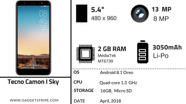Tecno Camon I Sky Specification