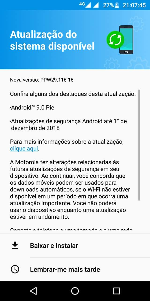 PPW29 116-16: Download Android Pie official ROM for Moto G6 Plus