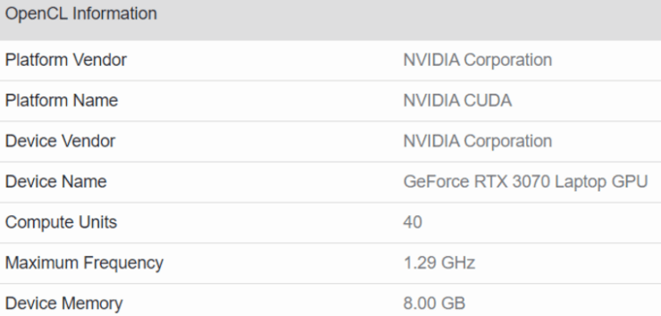 Mobile GeForce RTX 3070 Tested in Geekbench, 17% Slower than Desktop