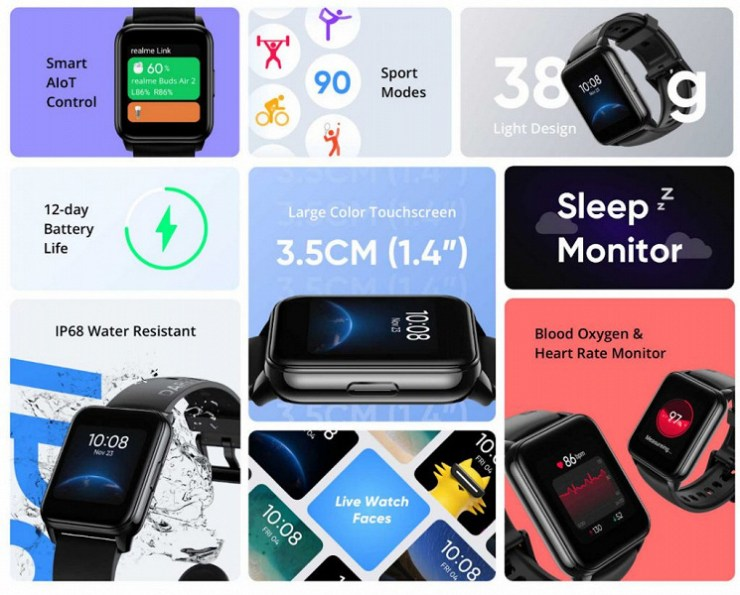 90 training modes, SpO2, IP68 and 12 days of battery life, inexpensive.  Realme Watch 2 smartwatch presented
