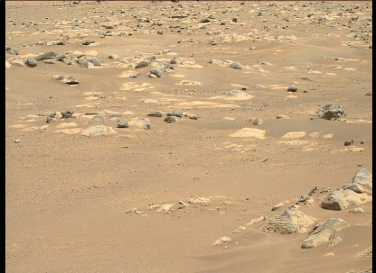 Sand and blue-green stones.  NASA has published a new series of images of the Martian desert