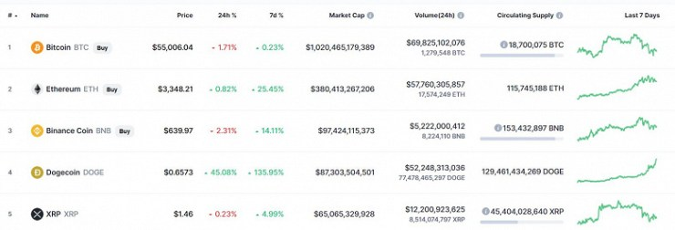 It is not Bitcoin and Ethereum that run the show in the cryptocurrency market.  Dogecoin, supported by Elon Musk, has risen in price by 50% per day, by 11000% in a year