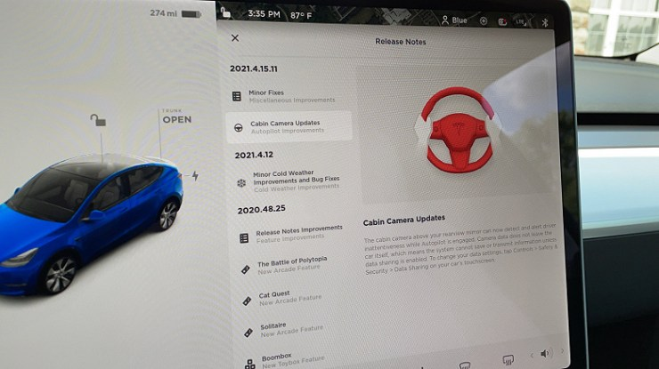 The update activates the camera in the Tesla showroom to spy on the driver