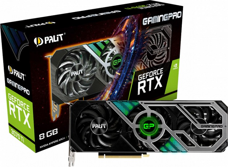 The cooling system of the Palit GeForce RTX 3070 Ti video card includes patented heat pipes