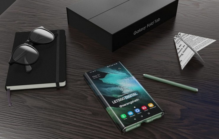 This is what a potential Galaxy Z Fold Tab looks like.  Samsung tablet with a flexible screen that folds in half showed on high-quality renders