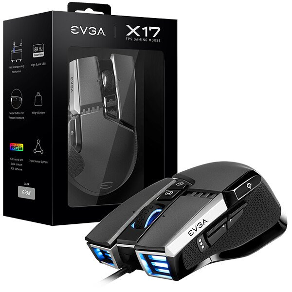 EVGA X17 and X15 gaming mice support Nvidia Reflex technology