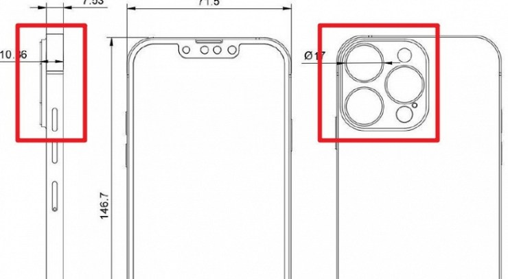 The exact dimensions and reduced bangs of the iPhone 13 Pro showed in the drawing