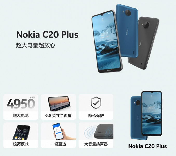 4950 mAh, dual camera and Android 11 for $ 110.  Introduced inexpensive smartphone Nokia C20 Plus