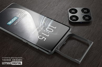 Smartphone Vivo with a camera drone showed on the renders