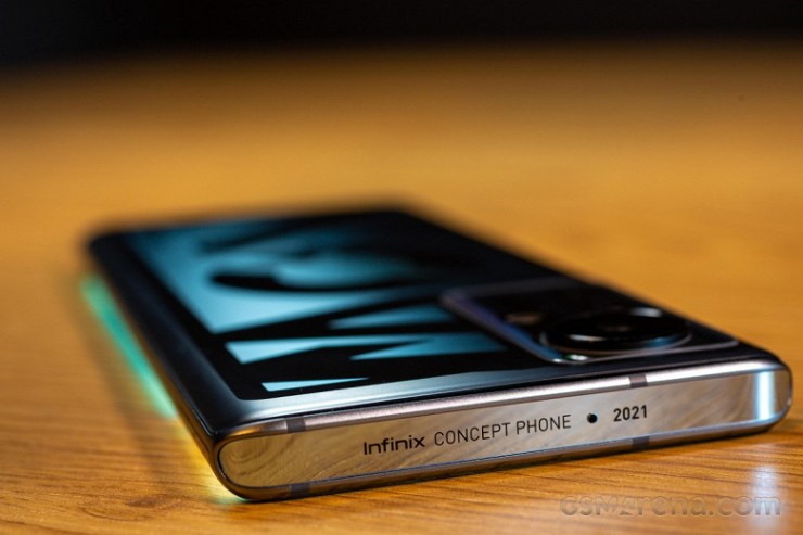 Smartphone with 160-watt charger and electrochromic and electroluminescent films.  Infinix Concept Phone 2021 is not a production model