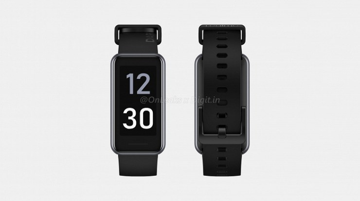 1.4-inch screen, monitoring heart rate, SpO2 and blood pressure.  Fitness bracelet Realme Band 2 showed on large renders