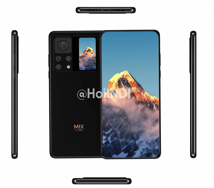 Mi Mix 4 with a quad camera and an additional screen showed on new renders