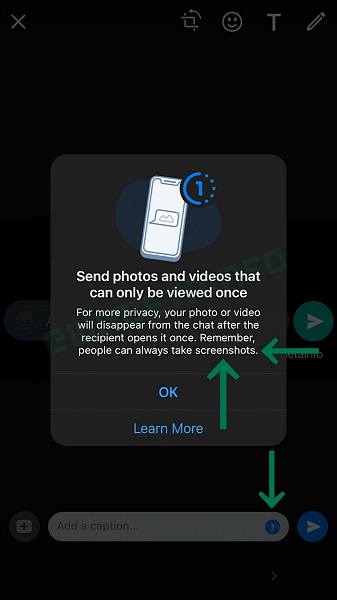 Self-destructing after first viewing WhatsApp messages appeared for iPhone