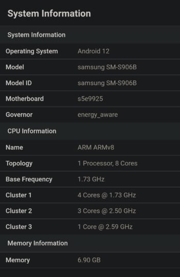 Samsung Galaxy S22 Plus on the Exynos 2200 platform first appeared on the web.  Performance - on par with Snapdragon 888