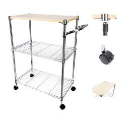 Wire Kitchen Cart Restain Cabinets 3 Tier Portable Rolling Shelf Rack Heavy Duty Silver