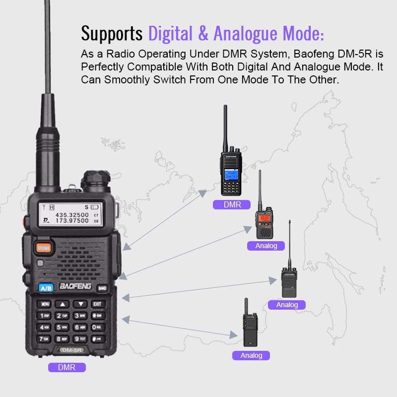 Baofeng DM-5R DMR Tier II Digital Two Way Radio VHF UHF
