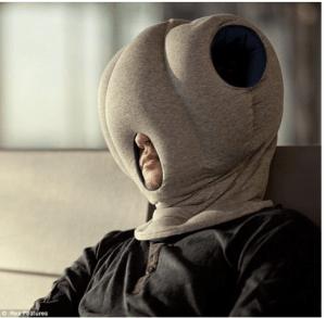 ostrich pillow zum kopf reinstecken