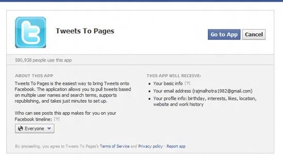 Add Twitter Tab to Facebook Fan Page 2