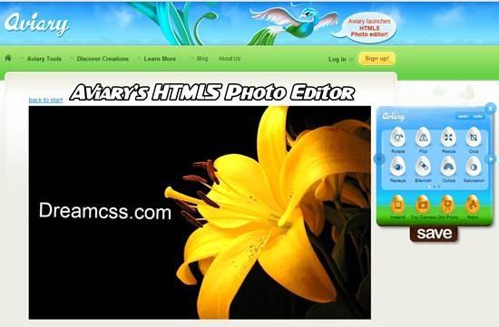 Aviary HTML5 Photo Editor