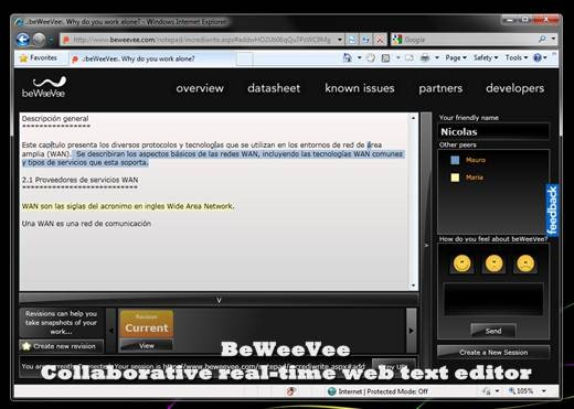 BeWeeVee – Collaborative real-time web text editor – Gadget
