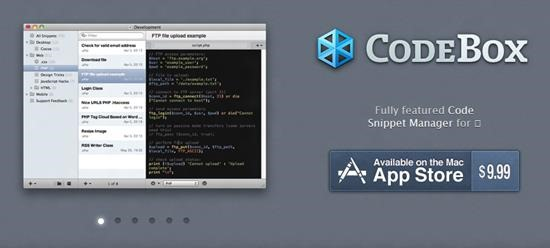 CodeBox Top 10 Code Snippets manager for Mac