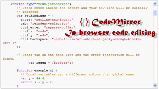 CodeMirror 11 useful JavaScript syntax highlighter