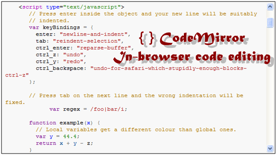 CodeMirror 11 useful JavaScript syntax highlighter