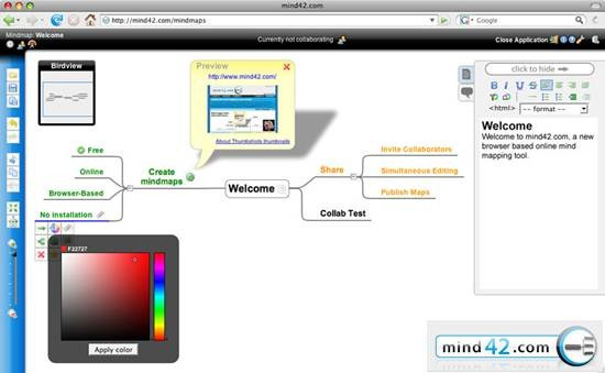 Collaborative mind mapping mind42