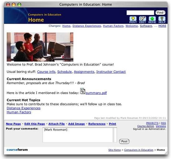Course Forum e-learning software