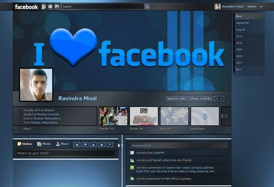 Dark Shiny Blue Facebook timeline theme