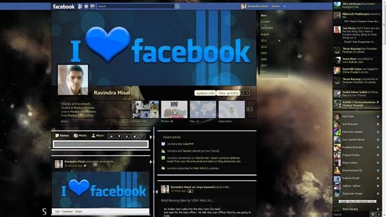 Dark Shiny Gold facebook timeline theme