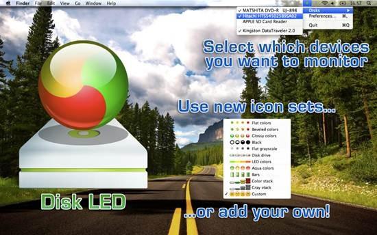 Disk LED - Menu bar indicator