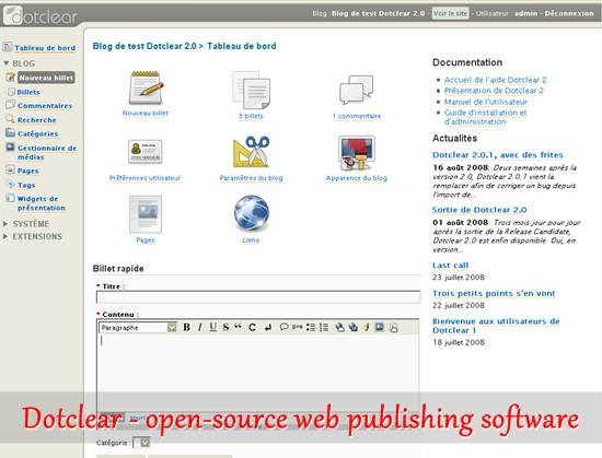 Dotclear - open-source web publishing software