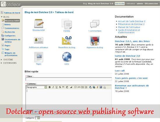 Dotclear - open-source web publishing software