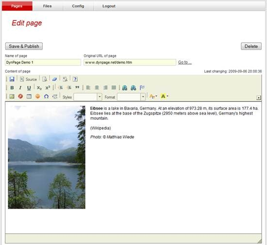 DynPage - CKeditor based content management system