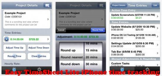 Easy TimeSheet Lite 8 best iPhone Apps for Tracking Time on Projects