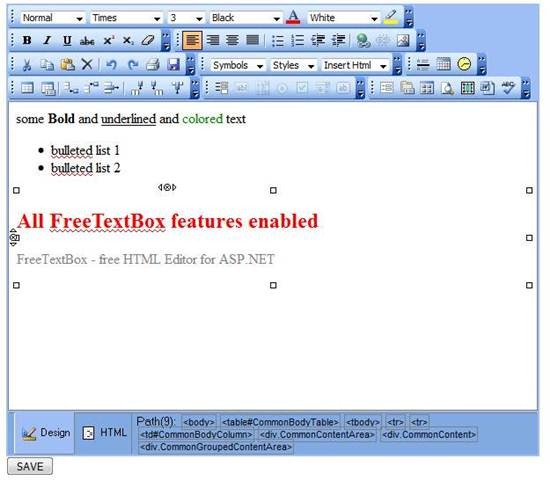 FreeTextBox – free HTML Editor for ASP NET – Gadget Explorer