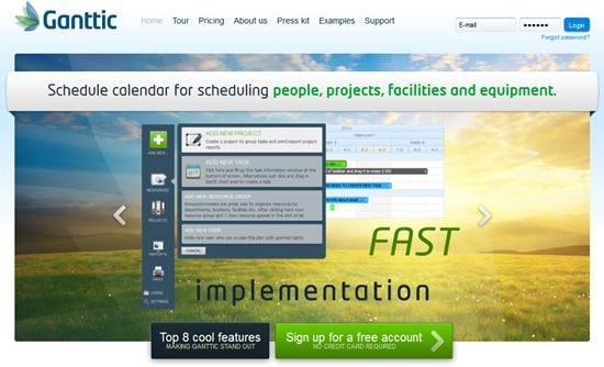 Ganttic - online project resource planning and Schedule calendar